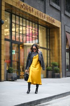Sharing two ways to style this stunning Zara Satin Slip Dress in yellow! This dress is a great transitional piece you can wear year round! Slip Dress Outfit, Dress Outfits, Fashion Outfits, Slip Dresses, Modest Fashion, Silk Dress, Fashion Boots, Fashion Ideas, Leather Jacket Dress