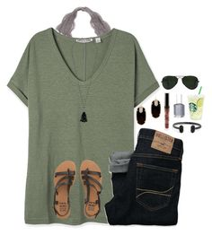 A fashion look from June 2016 by featuring Billabong, Kendra Scott, Lauren Ralph Lauren, Ray-Ban, Hollister Co. and Essie Casual School Outfits, Back To School Outfits, Casual Summer Outfits, Fall Winter Outfits, Spring Outfits, Preppy Outfits, Simple Outfits, Stylish Outfits, Hollister Outfit
