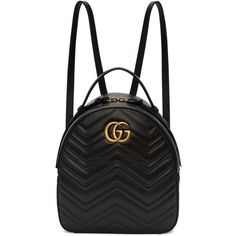 Gucci Black GG Marmont Backpack (£1,255) ❤ liked on Polyvore featuring bags, backpacks, backpack, black, patch backpack, patch handle bags, zip handle bags, logo backpack and zipper bag