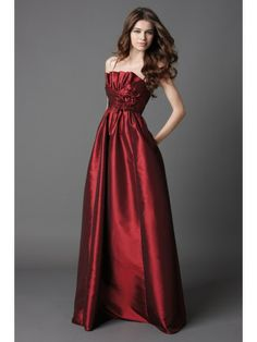 Taffeta Spaghetti Straps Catcher Bodice Floor-Length Bridesmaid Dress