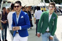 Light blue blazer. Pale green blazer.