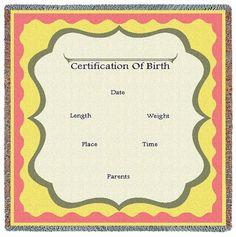 Birth Certificate Mini Throw, Pink & Yellow