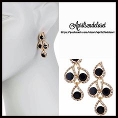 """EARRINGS Glam Statement Pave Crystal Chandelier NEW WITH TAGS   Glam Statement Pave Crystal Dangle Chandelier Earrings   * Gorgeous sparkly fancy teardrop halo genuine crystal stones  * Beautiful pave & gold-tone setting   * Measures about 1.5"""" in length   * Post back Material: Lead-free base metal & crystals, resin  Item:  No Trades ✅ Offers Considered*/Bundle Discounts✅ *Please use the 'offer' button to submit an offer. Boutique Jewelry Earrings"""