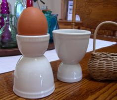 Two Double Egg Cups  Made in France by rhinestonesrock on Etsy, $18.00