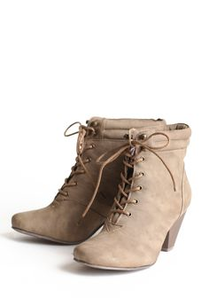 """Lisandra Lace Up Bootie 43.99 at shopruche.com. As a casual wardrobe staple, these effortlessly fashionable booties are feature a distressed faux leather in dark taupe with lace-up ties and a sleek faux wooden heel.All man-made materials, 3"""" heel , Slight tread on sole"""