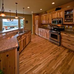 Home Boasts Sf Has A Gourmet Kitchen Home Office Fam U0026 Rec Room Hickory  Cabinets Wood Marmoleum Floors Too Much Pattern Hickory Cabinets69
