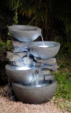 LED Lighted Tiered Water Fountain Feature Stone Bowls Garden Yard Patio Deck