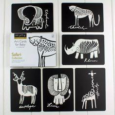 Black And White Baby Flash Cards Safari Animals
