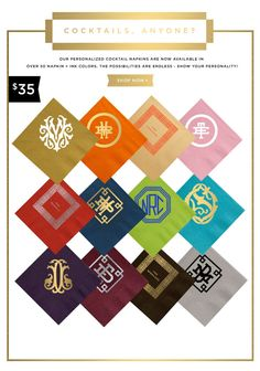 Personalized Cocktail napkins in over 50 colors - LOVE the fab monograms!