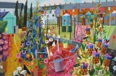 Mary Sumner  John St allotments Landscape Illustration, Landscape Art, Illustration Art, Fields In Arts, Art Uk, Naive Art, Art For Art Sake, Teaching Art, Japanese Art