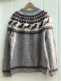 Icelandic Sweaters, Horse Pattern, Fair Isle Pattern, Knitting Patterns, Icelandic Horse, Wool, Fashion, Dots, Tejidos