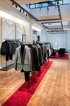 Parquet flooring and ornate panels in the #McQueen men's store on Savile Row in #London