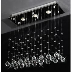 Drops of Rain Crystal Chandelier Modern Raindrop Design Lighting Fixture