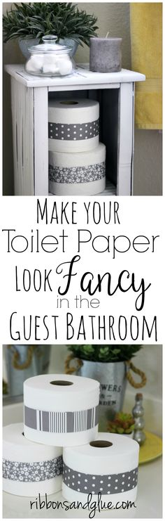 Make you toilet paper rolls look fancy in the guest bathroom by wrapping the rolls with belly bands. All you need is scrapbooking paper and tape. The small details make the biggest impact!