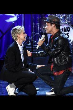 Bruno Mars and Ellen!