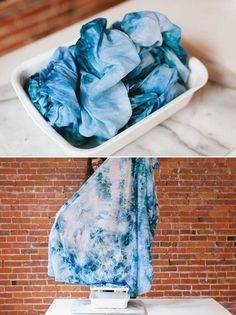 how to ice dye in a few easy steps! learn how to DIY the perfect linen throw for your living room refresh with this easy project. boho modern blanket using procion dye.