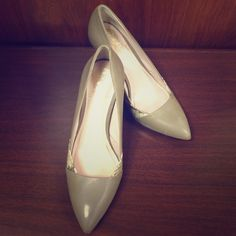 Vince Camuto Nude Heels Perfect heels for work or to dress up an outfit! Barely worn. Nude leather with snake skin accents on the front. 3.5 - 4 inch heel! Vince Camuto Shoes Heels