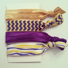Purple and Gold FOE Elastic Ribbon Hair by BayouAccents, $5.00 need this for football !!!