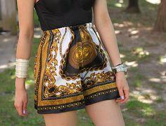 Diy scarf shorts. Tutorial: http://www.chictopia.com/photo/show/677553-DIY+SCARF+SHORTS-gold-scarf-shorts