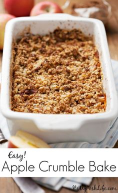 Bake Recipe http://poshonabudget.com/2016/11/easy-apple-crumble-bake ...