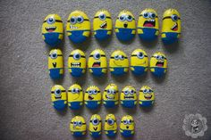 Minion painted rocks so cute . Facebook.com/PaintedPandaDesigns