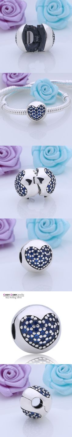 Genuine 925 Sterling Silver Clip Stopper Charm Pave Blue CZ Love Hearts Original Beads Fit Pandora Bracelet Euro Fashion Jewelry