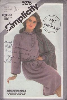 MOMSPatterns Vintage Sewing Patterns - Simplicity 5276 Vintage 80's Sewing Pattern CUTE Fast & Fabulous Ruffled Neck Bloused Secretary Dress, Large Square Fringe Shawl