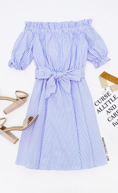 725f14b8e4f7a Blue Striped Ruffle Detail Belted Off The Shoulder Dress Make Me Chic