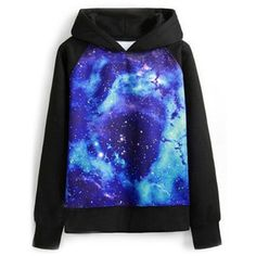 Galaxy Print Hooded Long Sleeves Blue Sweatshirt