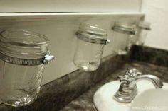 DIY Mason Jar Bathroom Storage - with lovely blue or green mason jars? Mason Jar Storage, Mason Jar Diy, Bathroom Organization, Bathroom Storage, Storage Organization, Bathroom Ideas, Household Organization, Basement Bathroom, Kitchen Storage