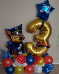 Paw Patrol Birthday Decorations, Paw Patrol Birthday Theme, Diy Birthday Decorations, Paw Patrol Party, Balloon Decorations Party, Party Themes, Paw Patrol Balloons, Balloon Columns, Safari Party