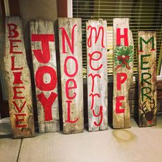 Christmas signs for your porches made out of old barn wood! Cheap, fun and easy!