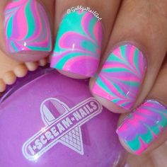 Turquoise and pink marble nail art inspired | Unhas decoradas com efeito marmorizado turquesa e rosa