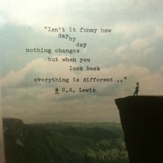 """isn't it funny how, day by day, nothing changes; but when you look back, everything is different..."" c.s. lewis"