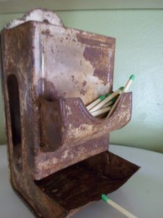 Rusty Crusty Vintage Match Stick Holder by CottageRosey on Etsy, $8.00