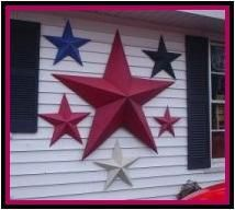 """there is one thing we can be certain of... a barn star was viewed as a symbol of good luck to many farmers """"way back when"""", as they are still viewed by many people today. The popularity of one or even multiple stars displayed on a garden wall, or side of one's home is a very popular decorative accent."""