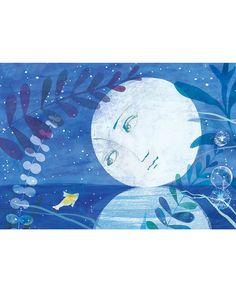 ETSY Nursery decor, Moon  Print,  Kids Wall Art,  Watercolor Art Print, White and Blue print, Baby Nursery Decor,  Summer decor