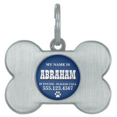 Paw Prints Blue Personalized Pet ID Tag