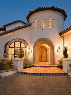 Mediterranean Exterior Design, love the front door and window