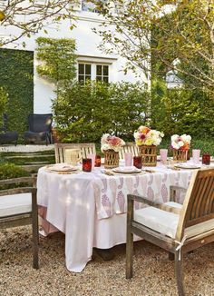 Outdoor garden party table