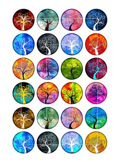 Tree of Life Round Images 1 inch inch Printables for Glass Pendants Bottlecaps Digital Collage Sheet Art Nouveau, Vinyl Sticker Sheets, Diy Resin Crafts, Recycled Crafts, Printable Scrapbook Paper, Bottle Cap Crafts, Bottle Cap Images, Button Art, Aesthetic Stickers