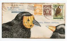 crow dress up, gouache, pen and ink, vintage envelope, 2013      (postcard prints and original envelopes available in my etsy shop eyefun)\      bone a day   inkhead