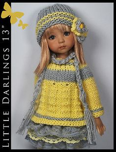Yellow and Gray Outfit for Little Darlings Effner 13 by Maggie and Kate Create Knitting Dolls Clothes, Crochet Doll Clothes, Knitted Dolls, Girl Doll Clothes, Doll Clothes Patterns, Crochet Dolls, Barbie Clothes, Girl Dolls, Barbie Dolls