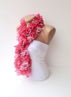 scarf women hand knitted ruffled scarf  pink coral red  by seno, $25.00