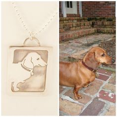 Dog Art Necklace, Your Pet as a Pendant personalized jewelry .. doxie Dachshund , Solid Back, Head Shot Pet Portrait