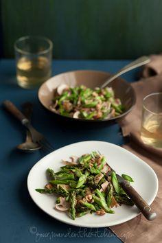 Asparagus and Mushroom Miso Walnut Salad, Sylvie Shirazi
