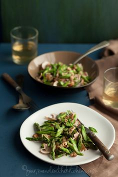 Raw Asparagus and Mushroom Salad with Walnuts and Miso Dressing | Gourmande in the Kitchen