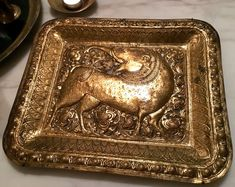 Vintage Brass Repousse Tray | Kochasri Animal Image | Mythical Animal | Thailand India Asia | Rectangular Brass Tray | Home Decor Item