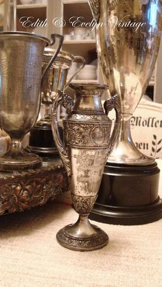 Unusual Antique Tennis Trophy Cup Silverplate by edithandevelyn on Etsy