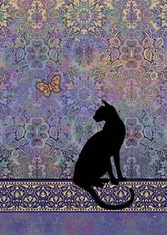 Black Cat by Jane Crowther. Bug Art greeting cards. #CatArt